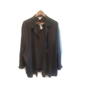 Nygard 100% silk cami & shirt set, olive green 16